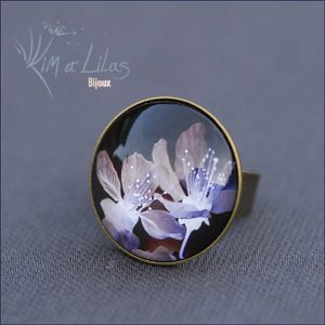 Bague ronde Black Flower