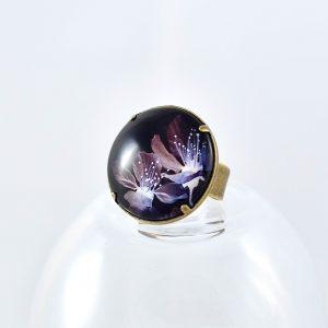 bague fleur noire et violette