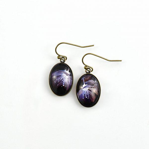 boucles d'oreilles ovales fleur noire et violette