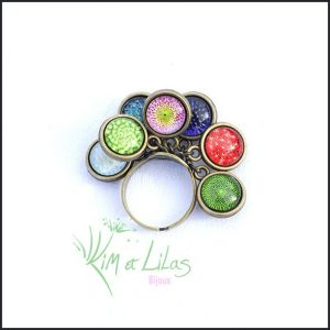 Bague 'Au cœur du jardin' multicolore