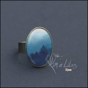 Bague ovale 'Brumes'