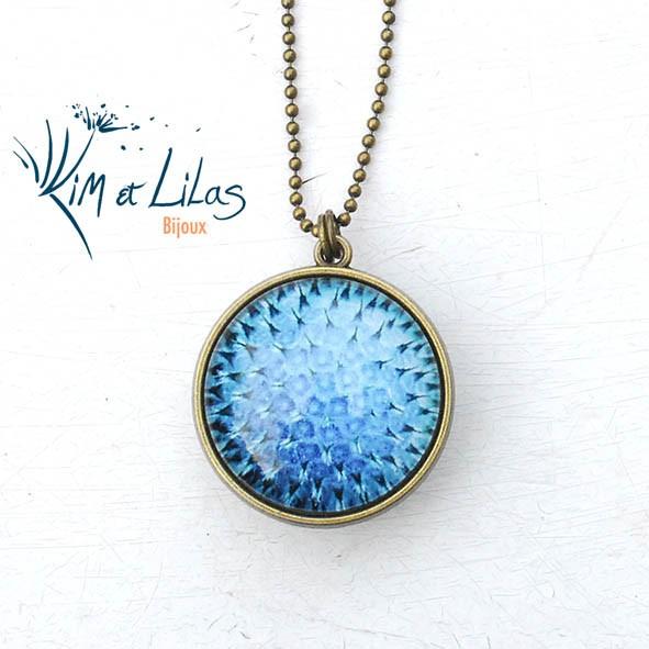 Collier 'Coeur de fleurs' bicolore bleu/vert