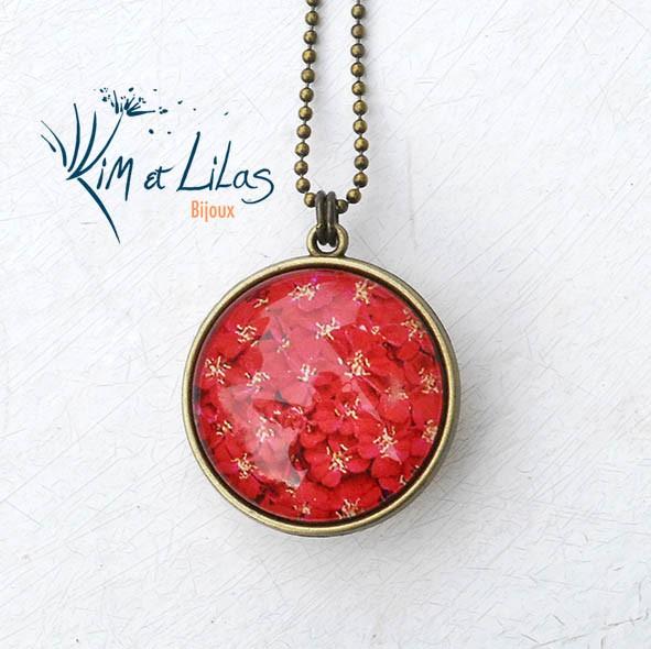 Collier 'Coeur de fleurs' bicolore rouge/jaune
