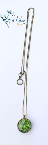 Collier 'Coeur de fleurs' bicolore vert/rose