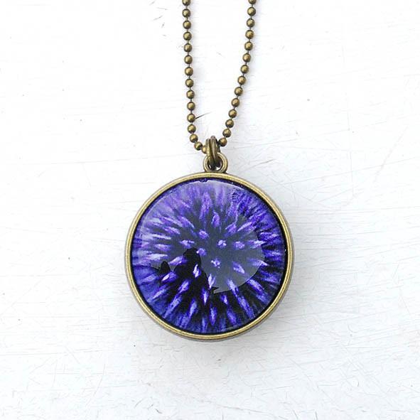 Collier long 'Coeur de fleurs' bicolore fushia/violet