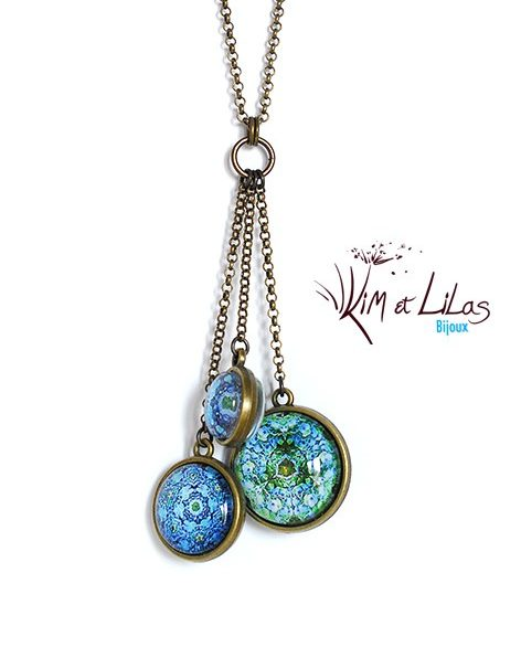 Collier long 'Sulfure bleu' en grappe