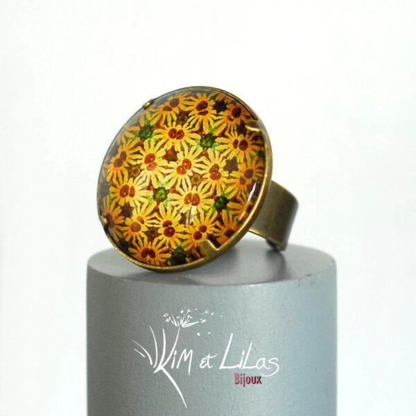 Bague Millefiori jaune soleil ©Kim et Lilas