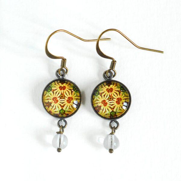 Boucles d'oreilles Millefiori jaune soleil ©Kim et Lilas