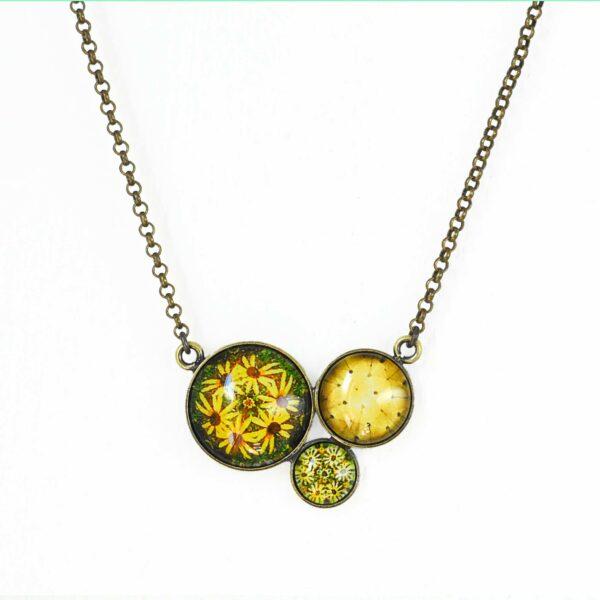 Collier court Millefiori jaune soleil ©Kim et Lilas