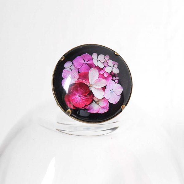 Bague 'Hana' fleurs d'hortensia