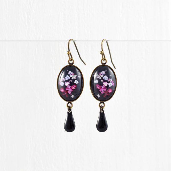Boucles d'oreilles ovales et pampilles collection Hana ©Kim et Lilas