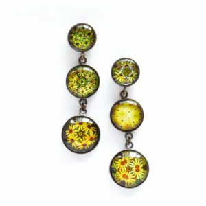 Boucles d'oreilles pendantes Millefiori jaune soleil ©Kim et Lilas