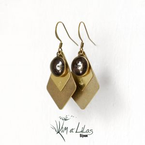 Boucles d'oreilles cabochon photo Lune