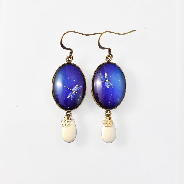 Boucle d'oreille Libellule ovales bleues ovale