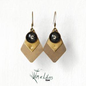 Boucles d'oreilles losanges pleine lune noir ©kim et lilas