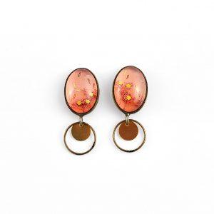 Boucles d'oreilles petites ovales puces 'été indien' ©Kim et Lilas