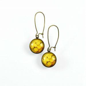 Boucle d'oreille ronde fleur jaune