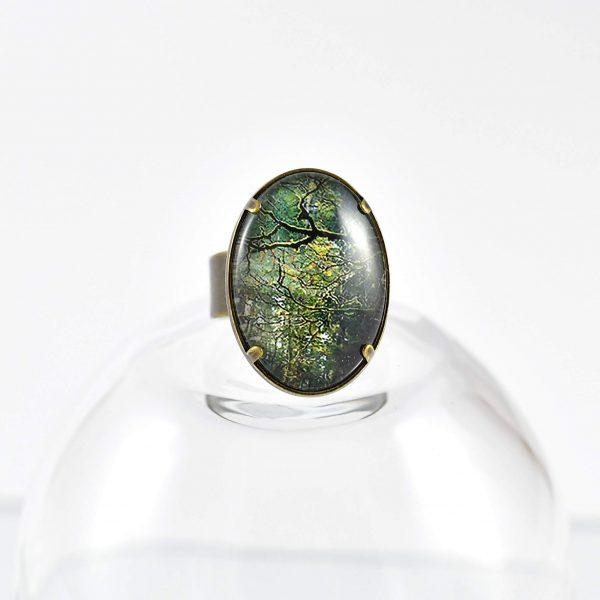 bague ovale 'branche' ambiance forêt ©kim et lilas