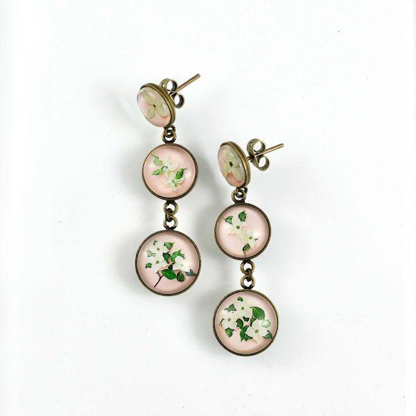 boucles d'oreilles fleurs de cornus kousa