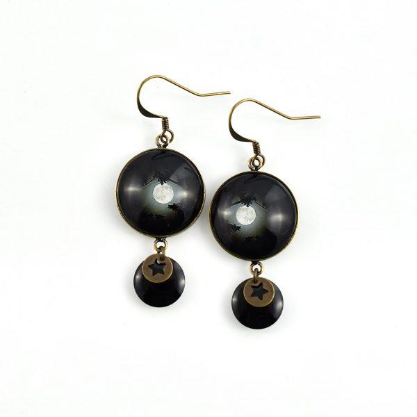 Boucles d'oreilles rondes pleine lune ©kim et lilas