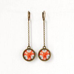 Boucles d'oreilles double face Millefiori fleur d'hortensia corail ©Kim