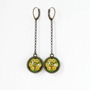 Boucles d'oreilles Millefiori jaune soleil double face ©Kim et Lilas