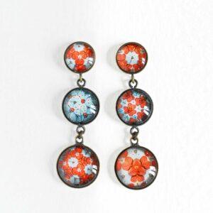 Boucles d'oreilles pendantes Millefiori fleur d'hortensia corail ©Kim et Lilas